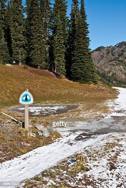 fresh snow covers the pacific crest trail in washington state - pacific crest trail stock pictures, royalty-free photos & images