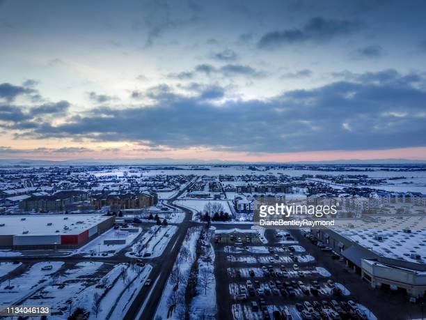 fresh snow over west bozeman montana at dusk - bozeman stock pictures, royalty-free photos & images