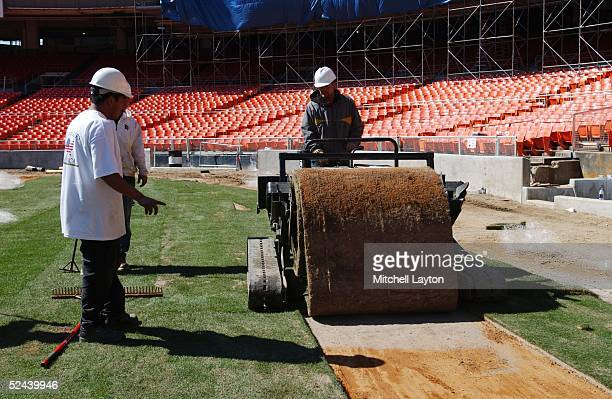 Fresh sod being laid at RFK Stadium home of the Washington Nations during renovations on April 03 2005 in Washington DC