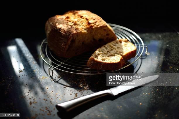 Fresh sourdough loaf in beautiful morning light