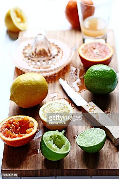 fresh squeezed fruit on chopping board