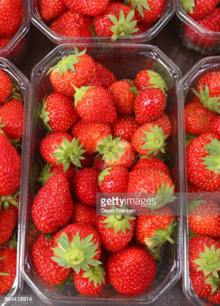 fresh strawberries for sale in a famers market in Epernay, the Champagne region of France