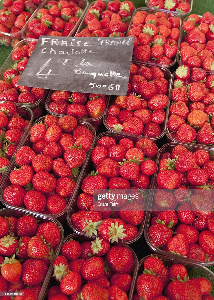 Fresh strawberries for sale in market. : Stock Photo