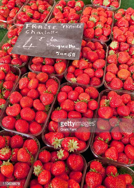 Fresh strawberries for sale in market.