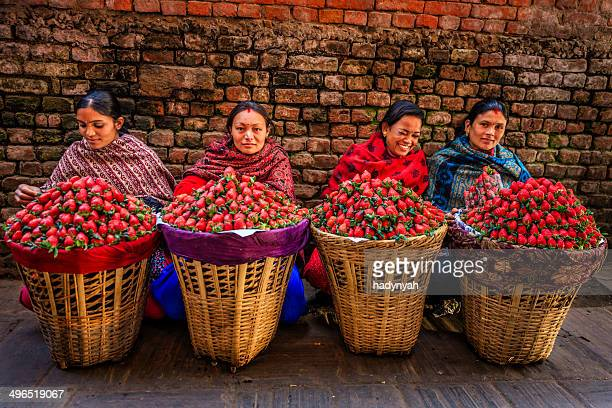 fresh strawberries! street market in kathmandu, nepal - nepal stock pictures, royalty-free photos & images