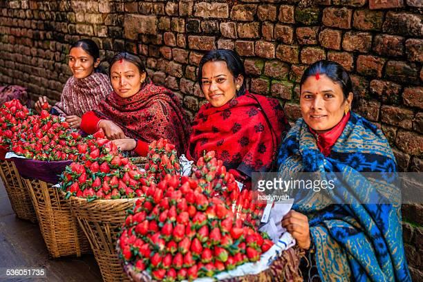 fresh strawberries! street market in kathmandu, nepal - india market stock photos and pictures