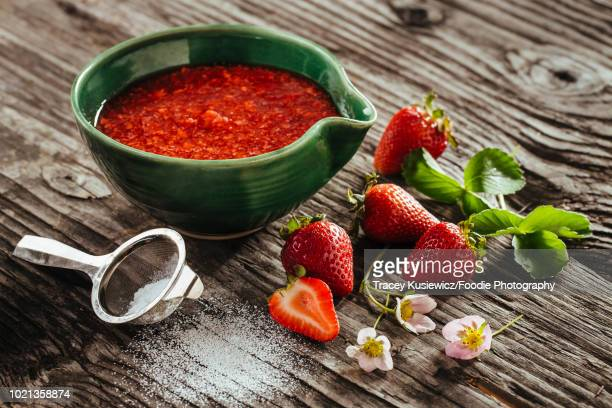 fresh strawberry freezer jam - coulis stock pictures, royalty-free photos & images
