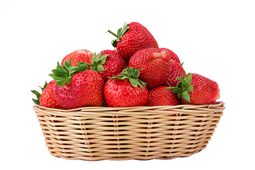 Fresh strawberry in wooden wicker isolated on white background - gettyimageskorea