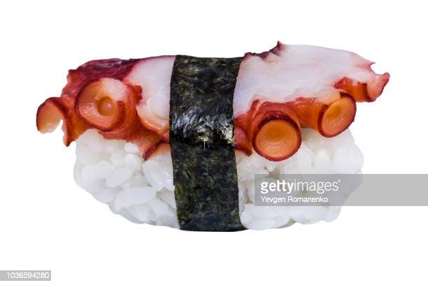 fresh sushi with octopus isolated on white background - nigiri stock pictures, royalty-free photos & images