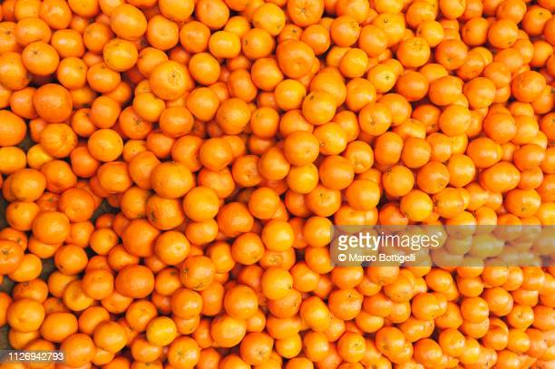 fresh tangerines on a market stall - oranje stockfoto's en -beelden