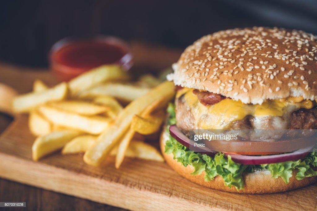 Fresh tasty burger : Stock Photo