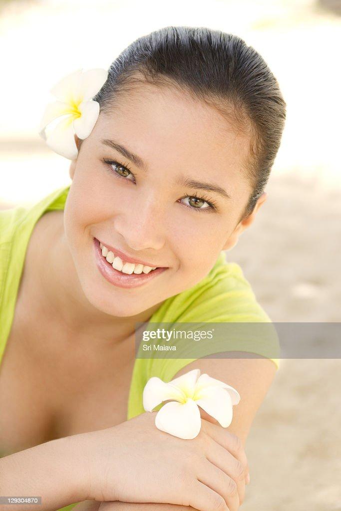 Fresh Teen Part - 47: Fresh Teen Female With Plumerias : Stock Photo