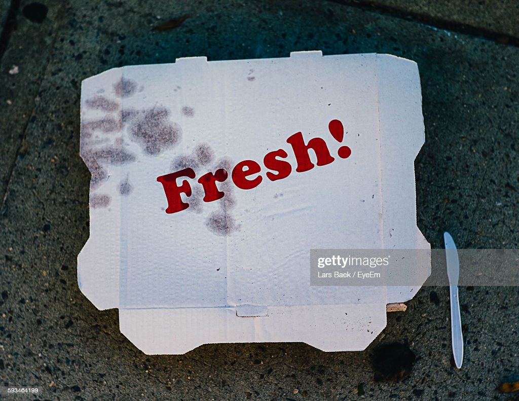 Fresh Text On Pizza Box : Stock Photo