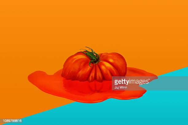 Fresh tomato melting into a puddle