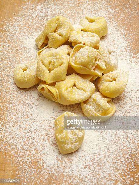 Fresh tortellini with flour