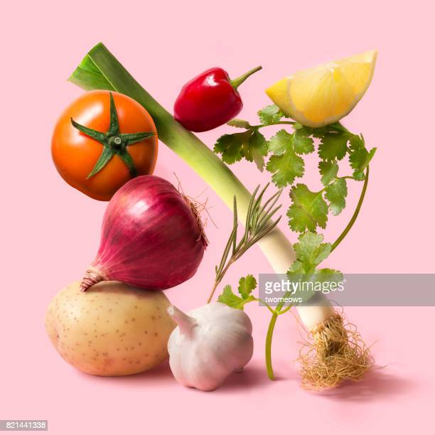 fresh uncooked vegetable still life. - obst stock-fotos und bilder