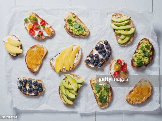 Fresh vegan vegetarian vegetable fruit sandwiches food photography