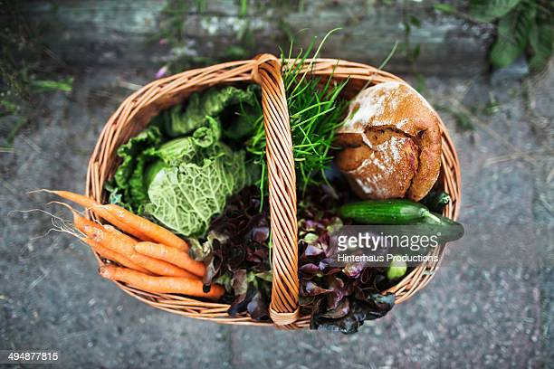 fresh vegetable and food in basket - basket stock photos and pictures