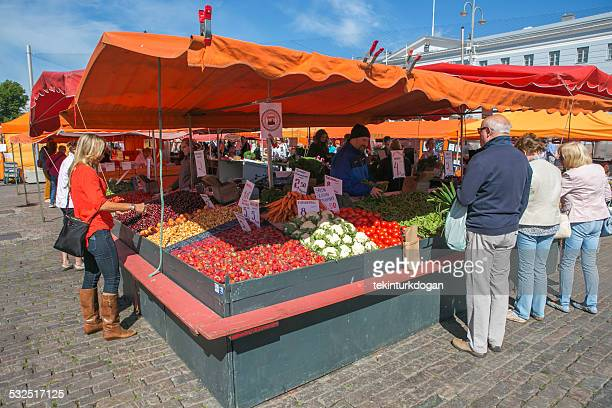 fresh vegetable and fruit stand at market square helsinki finland