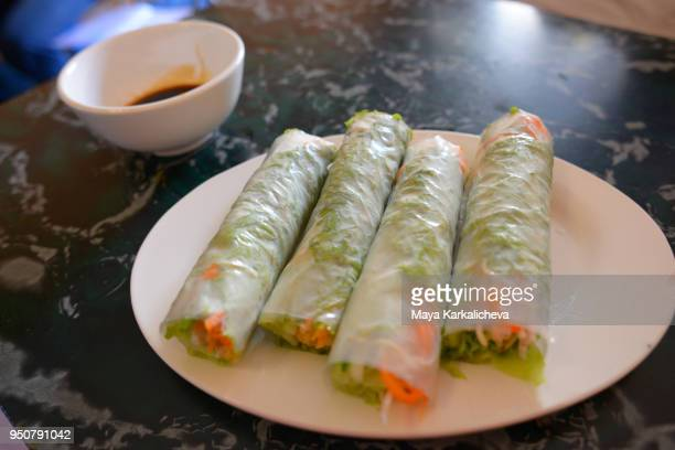 Fresh vegetable spring rolls, Hanoi, Vietnam