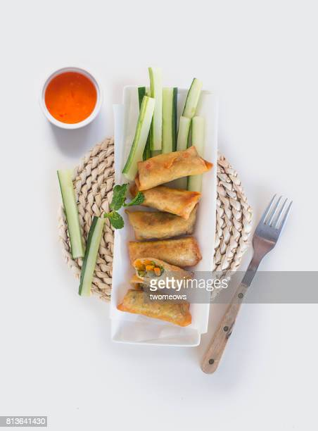 Fresh vegetable spring rolls with Dipping sauce.