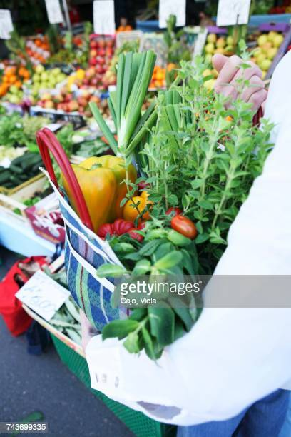 Fresh vegetables and herbs in a checked shopping bag