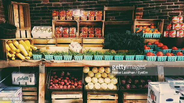 Fresh Vegetables At Market Stall