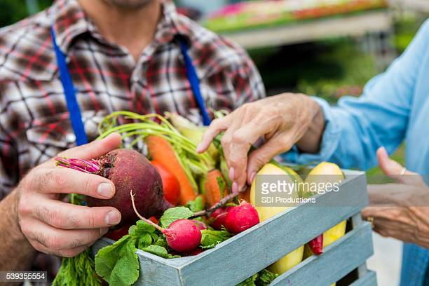 fresh vegetables being sold at farmers market - markt stockfoto's en -beelden