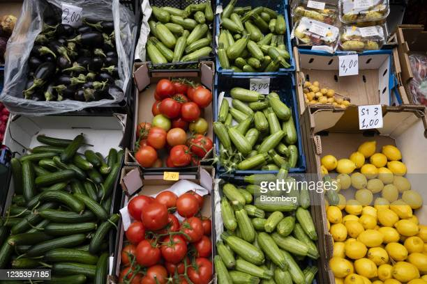 Fresh vegetables for sale outside a store on Sonnenallee in Berlin, Germany, on Monday, Sept. 13, 2021. Refugees from Syria have changed the cultural...