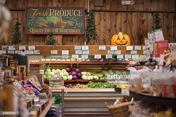 Fresh vegetables in health food shop