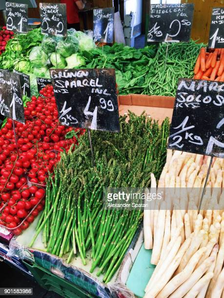 Fresh vegetables on a market stall in Vienna, Austria