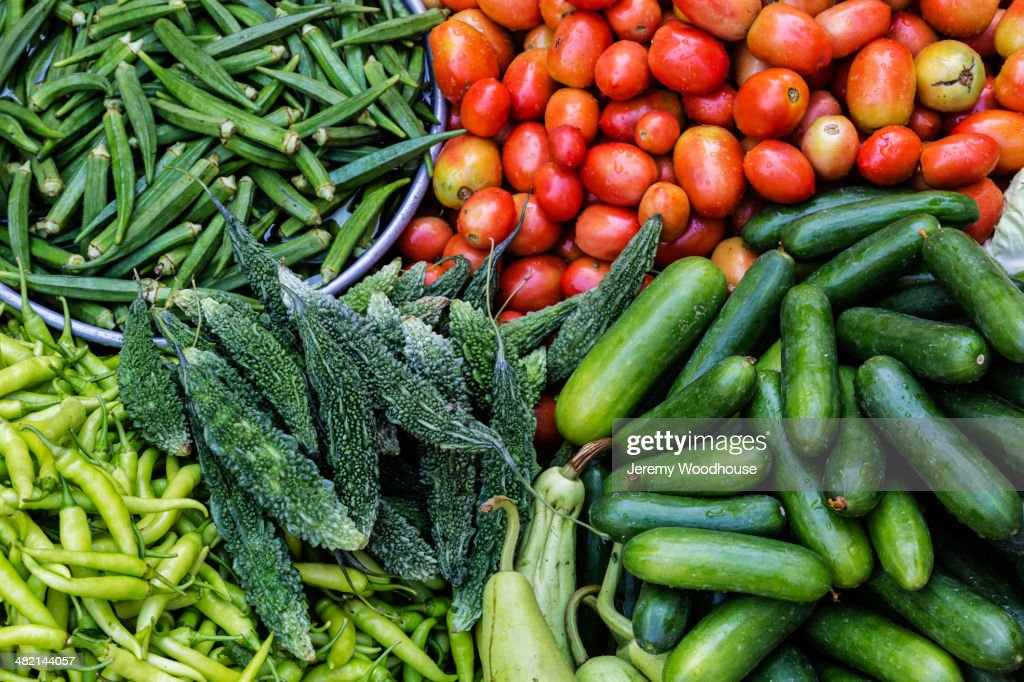 Fresh vegetables on display : Stock Photo