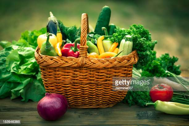 fresh vegetables - wicker stock pictures, royalty-free photos & images