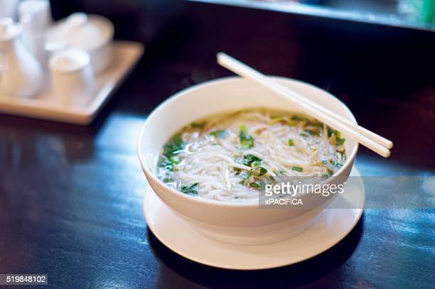 A fresh warm bowl of Pho, a traditional Vietnamese noodle soup dish