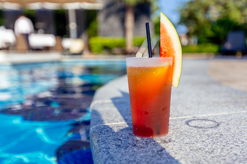 Fresh watermelon cocktail by the swimming pool at tourist resort hotel - gettyimageskorea