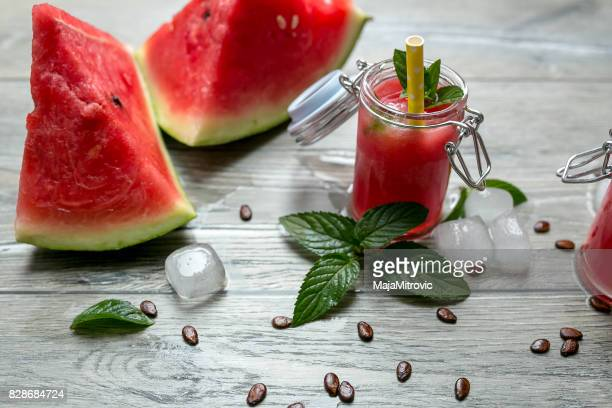 Fresh watermelon juice for health,Top view.