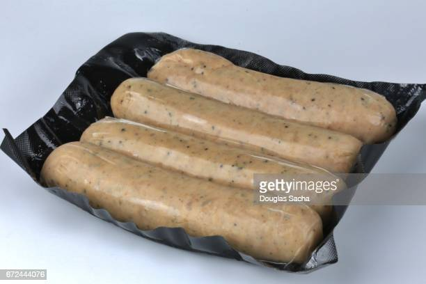 Fresh weiner sausages sealed in a vacuum sealed container