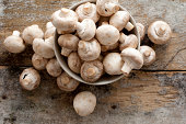 Fresh whole white button mushrooms