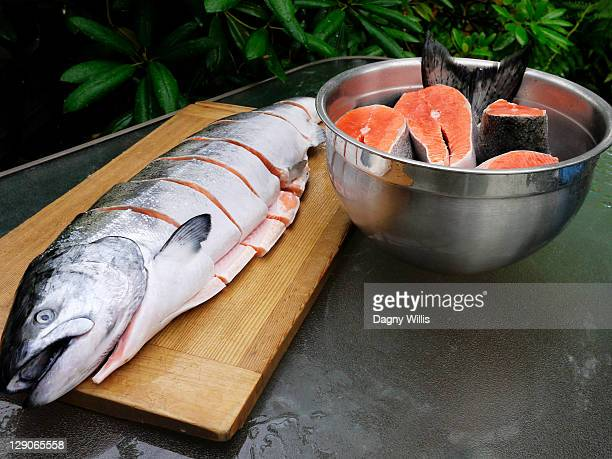 Fresh wild alaskan chinook salmon