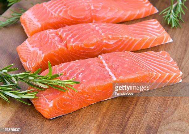 fresh wild salmon steak & raw fish fillet, healthy food preparation - fillet stock pictures, royalty-free photos & images
