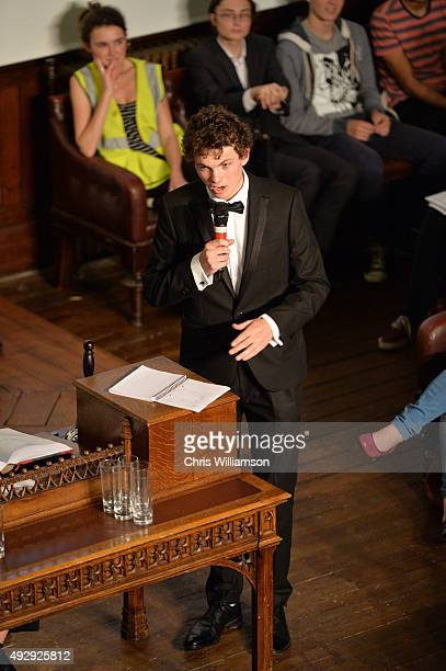 Fresher student during a debate at The Cambridge Union on October 15 2015 in Cambridge United Kingdom The Cambridge Union were dabting 'This House...