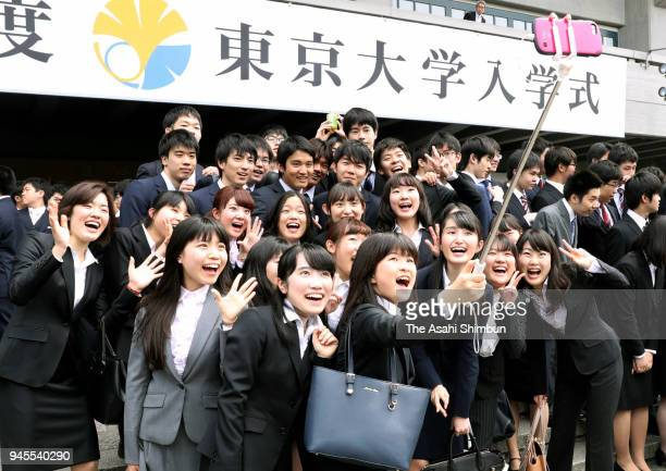 Freshers attend the welcome ceremony of the University of Tokyo at Nippon Budokan on April 12 2018 in Tokyo Japan