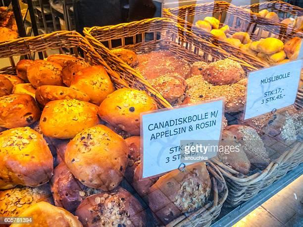 Freshly baked bread in window display, Copenhagen, Denmark