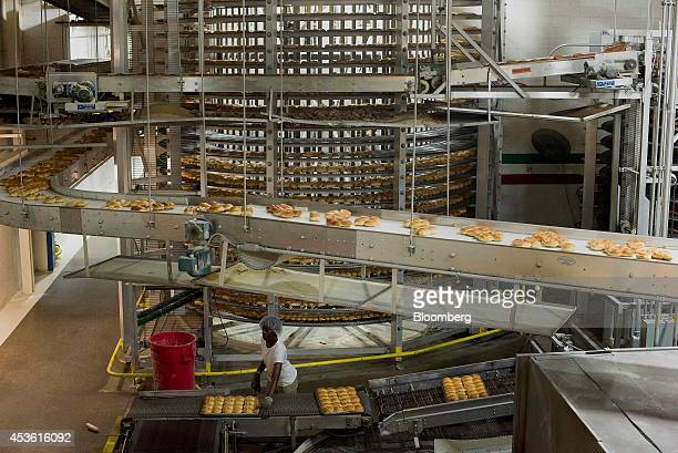 Freshly baked breads and rolls move out of the ovens before being loaded onto cooling belts at the Orlando Baking Co in Cleveland Ohio US on...