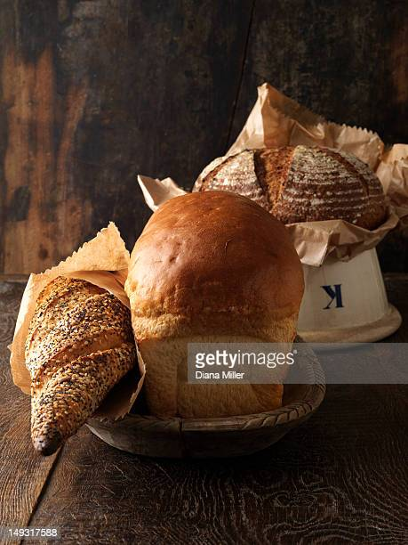 Freshly baked breads in bowls