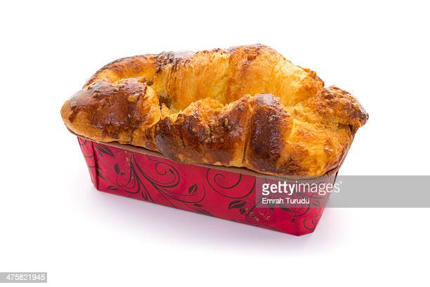 Freshly baked brioche on white background