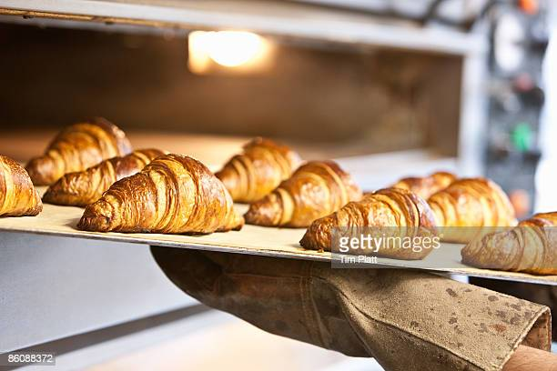 freshly baked croissants on baking tray. - croissant stock pictures, royalty-free photos & images