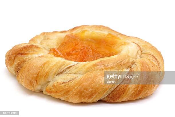 Freshly baked Danish pastry sweet roll.