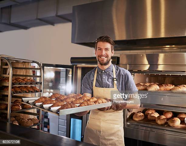 freshly baked, just for you - delicatessen stock photos and pictures