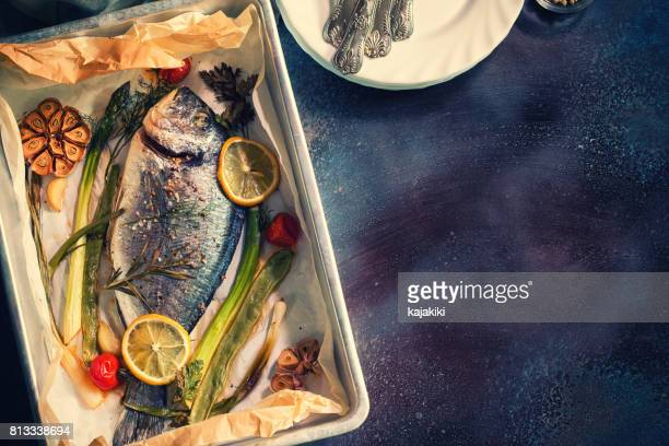 Freshly Baked Sea Bream In a Baking Sheet